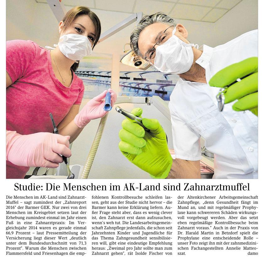 Die Menschen im AK-Land sind Zahnarztmuffel — Artikel in der Siegener Zeitung vom 01.09.2016 von Daniel Montanus